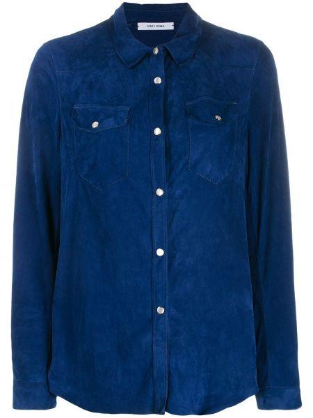 Синий топ на пуговицах с воротником с карманами Gente Roma