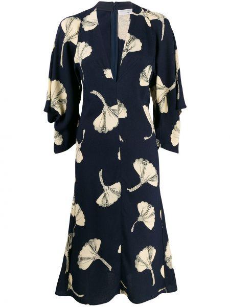 Платье миди с цветочным принтом с V-образным вырезом Victoria Beckham