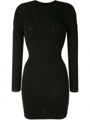 С рукавами черное платье макси с вырезом Alexis