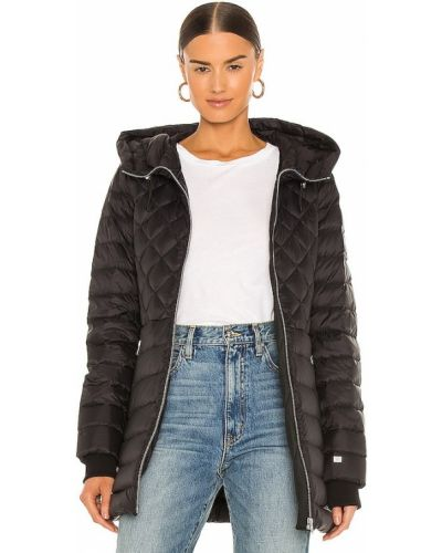 Пуховое черное пальто с капюшоном Soia & Kyo