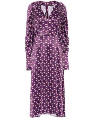 Fioletowa sukienka midi z wiskozy w kwiaty Rotate Birger Christensen