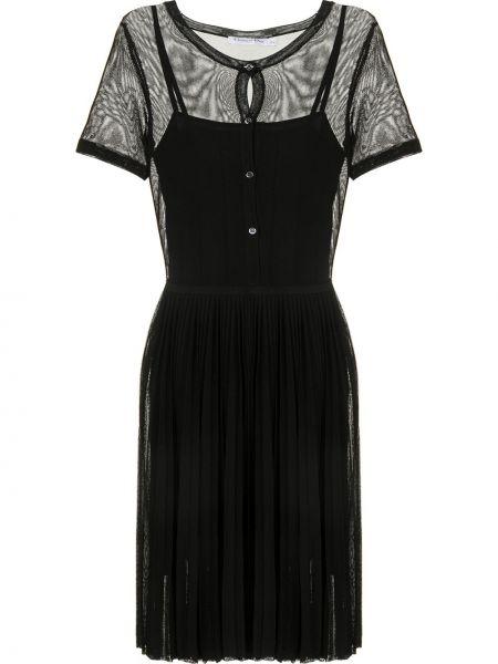 Шелковое с рукавами черное платье Christian Dior