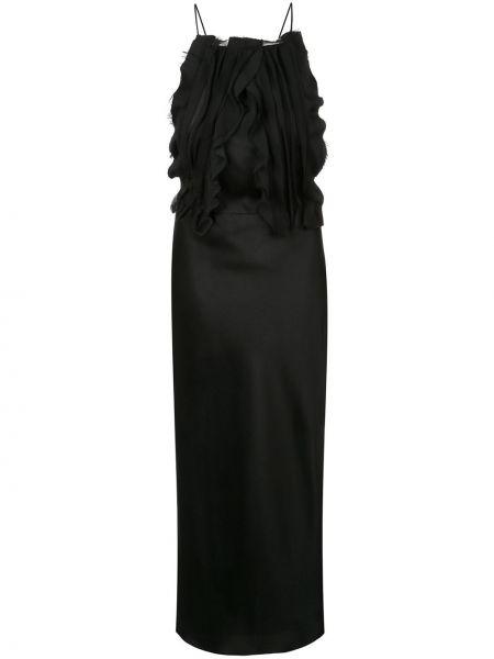Тонкое платье миди с открытой спиной на бретелях с оборками Jason Wu Collection