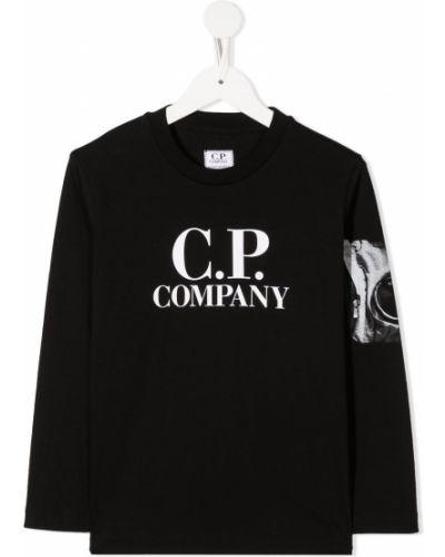 Хлопковая прямая черная футболка на молнии Cp Company Kids