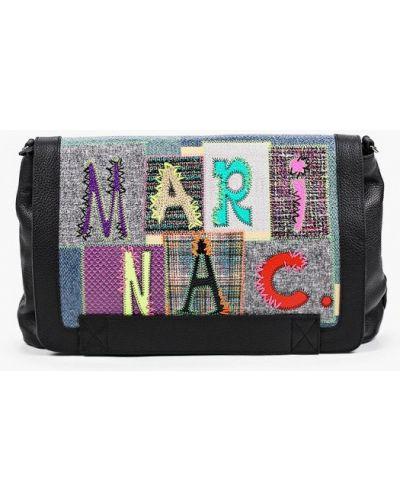 Черная сумка через плечо из натуральной кожи Marina Creazioni