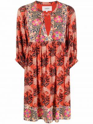Платье мини в цветочный принт - оранжевое Ba&sh