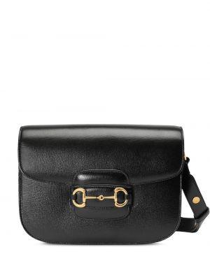 Черная кожаная сумка с пряжкой на молнии металлическая Gucci