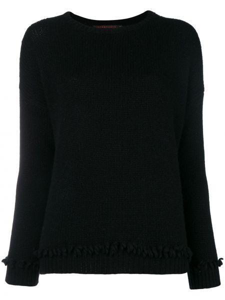 Черный свитер крупной вязки со спущенными плечами в рубчик Incentive! Cashmere