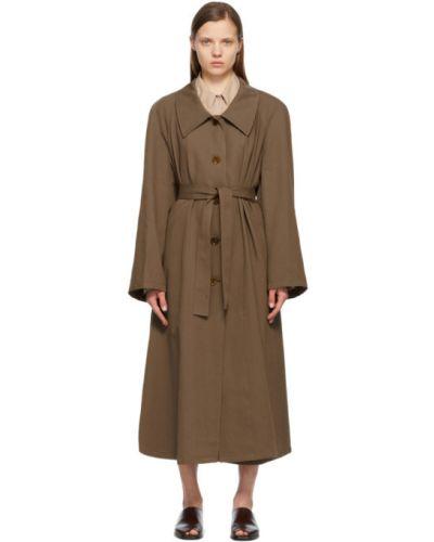 Brązowy długi płaszcz z paskiem bawełniany Lemaire