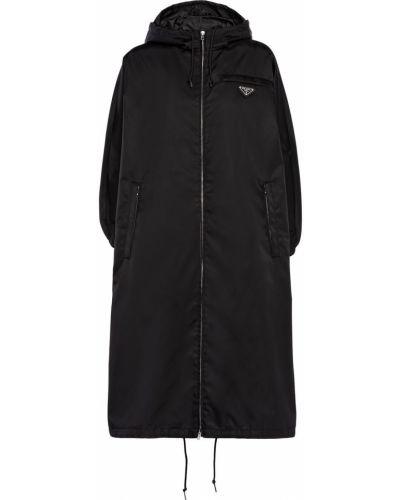 Klasyczny czarny płaszcz przeciwdeszczowy z długimi rękawami Prada