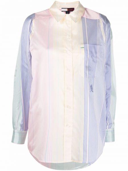 Шелковая синяя рубашка с нашивками Hilfiger Collection