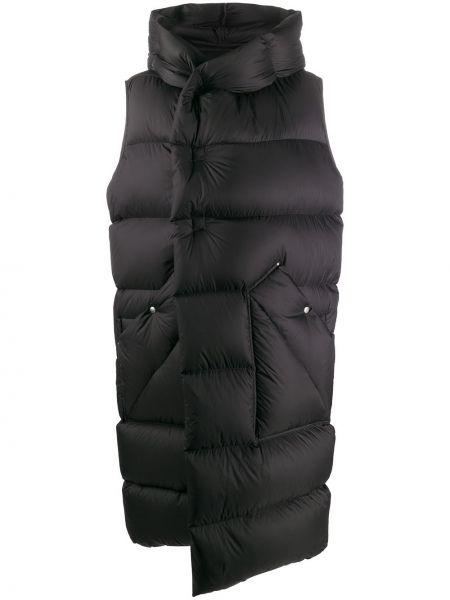 Bawełna puchaty czarny płaszcz z kieszeniami Rick Owens