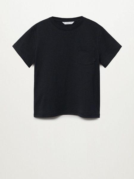 Хлопковая футболка - черная Mango Kids