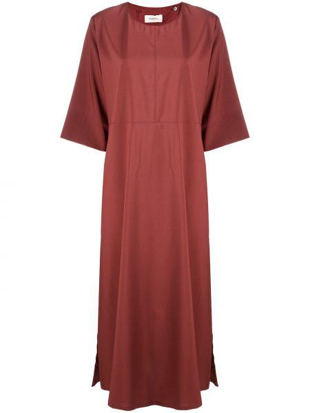 Свободное с рукавами красное платье миди круглое Barena