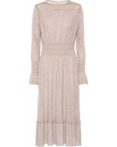 Шелковое платье миди - коричневое Agnona