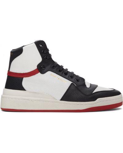 Skórzany czarny wysoki sneakersy perforowany zasznurować Saint Laurent