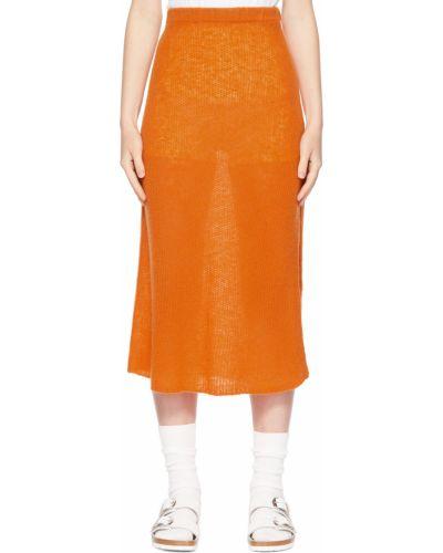 Оранжевая юбка с разрезом The Elder Statesman