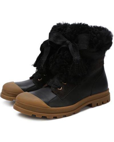 Ботинки на шнуровке с мехом Chloé