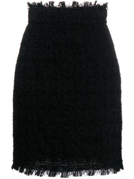 Черная плиссированная юбка мини твидовая Dolce & Gabbana