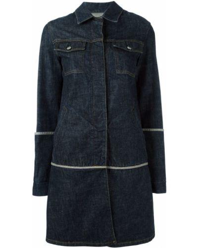 Синее длинное пальто с капюшоном Helmut Lang Pre-owned