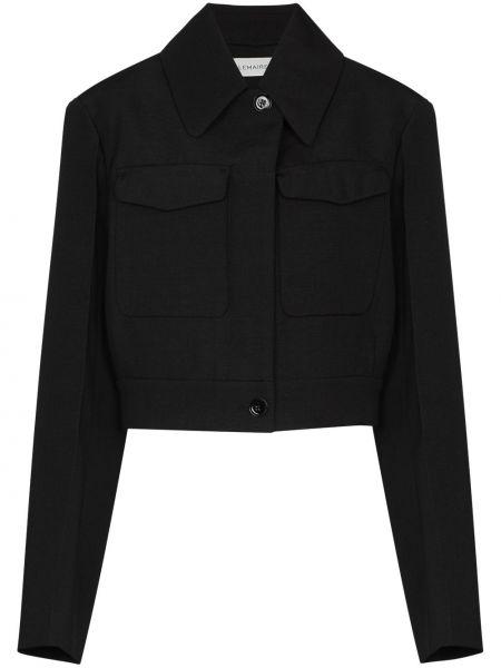 Prosto czarny długa kurtka z kieszeniami z długimi rękawami Lemaire
