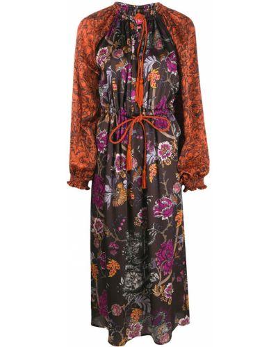 Коричневое расклешенное шелковое платье с вырезом F.r.s. For Restless Sleepers