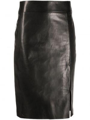 Кожаная юбка миди - черная Drome