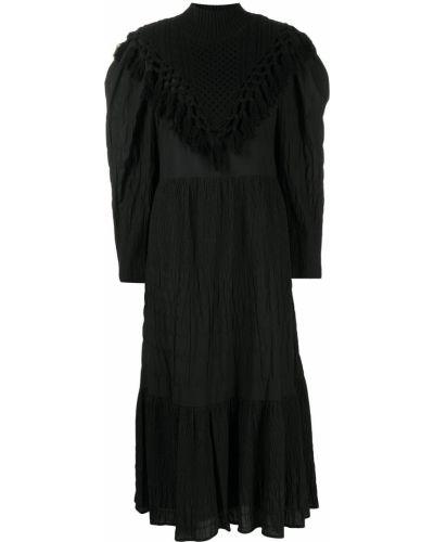 Хлопковое платье миди - черное Sea