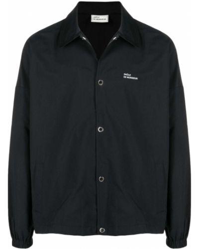 Czarna koszula z haftem z długimi rękawami Drole De Monsieur