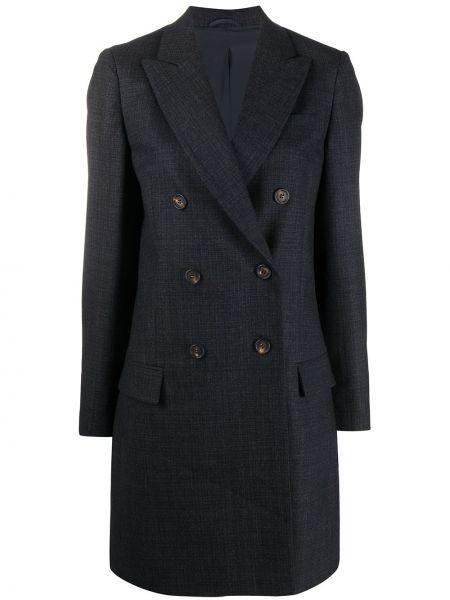 Серое прямое шерстяное пальто на пуговицах Brunello Cucinelli