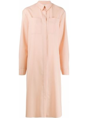 Розовое платье миди на пуговицах с воротником с карманами Maison Rabih Kayrouz