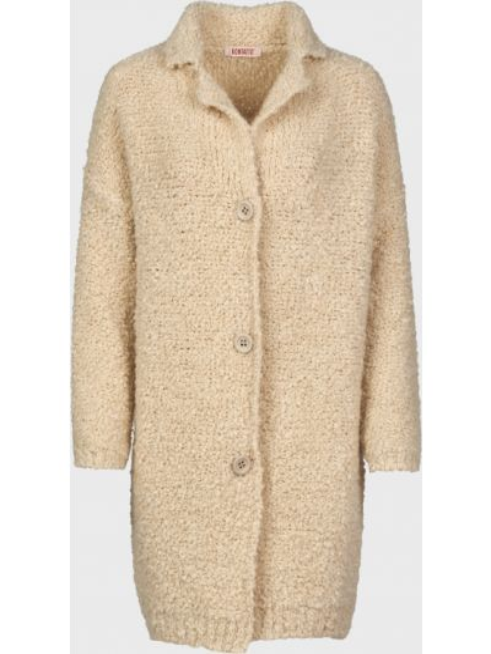 Шерстяное бежевое пальто на пуговицах Kontatto