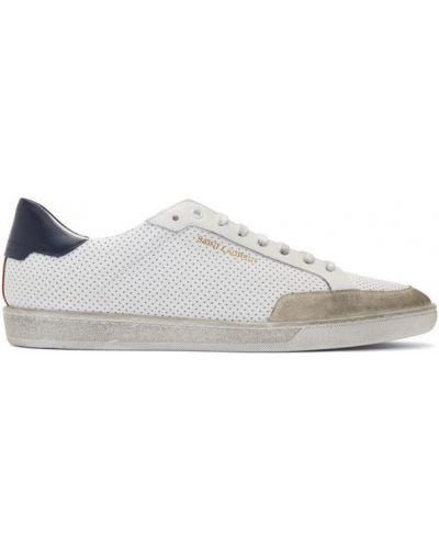 Skórzany biały skórzane sneakersy perforowany na sznurowadłach Saint Laurent