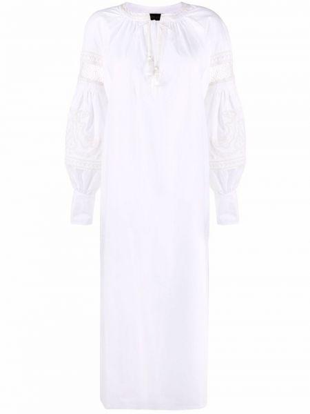 Хлопковое белое платье миди с вырезом Roberto Collina