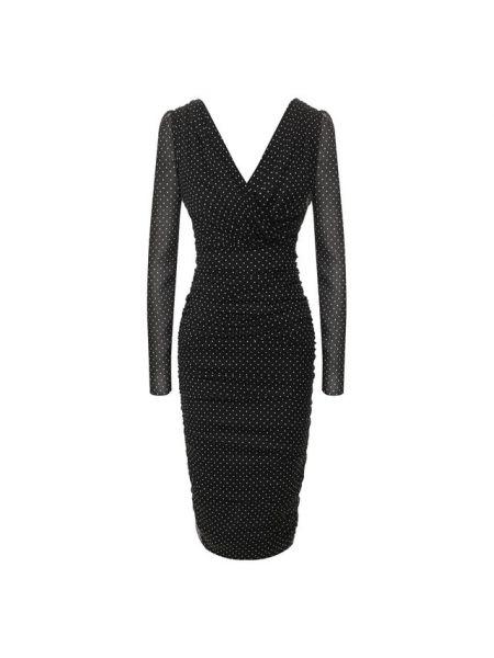 Облегающее платье в горошек шелковое Dolce & Gabbana