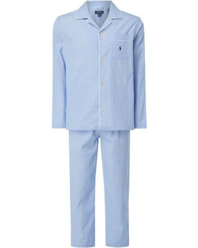 Niebieska spodni piżama bawełniana z długimi rękawami Polo Ralph Lauren Underwear