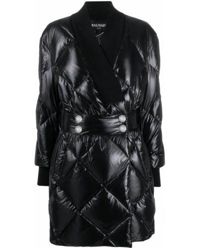 С рукавами черное стеганое длинное пальто Balmain
