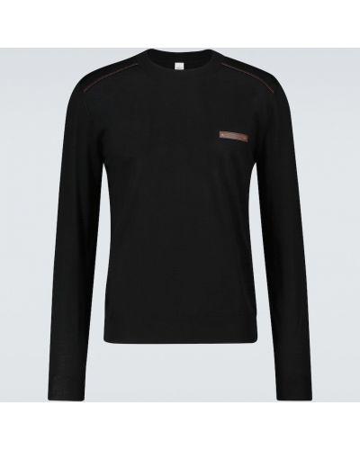 Prążkowany czarny sweter wełniany Berluti