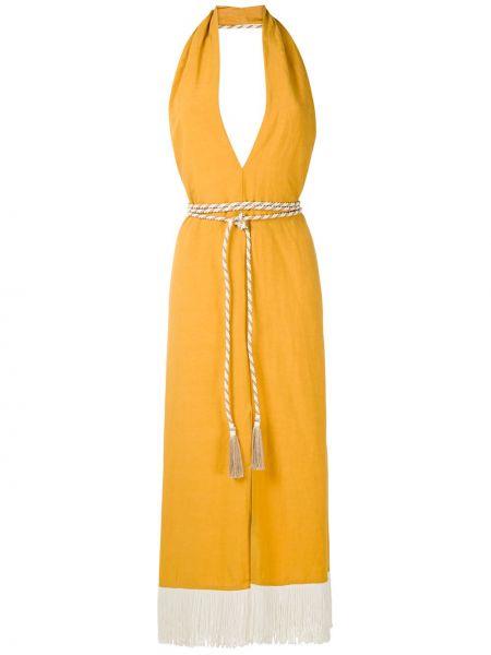 Платье миди с бахромой с V-образным вырезом Framed
