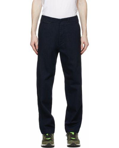 Niebieskie jeansy z paskiem bawełniane Nanamica