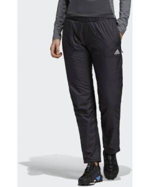 Черные домашние зауженные теплые брюки Adidas