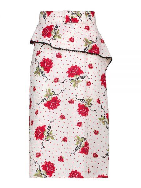 Шелковая юбка миди - белая Rodarte