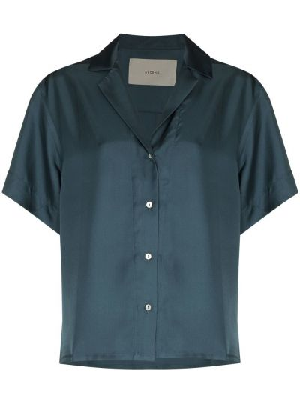 Шелковая синяя рубашка с короткими рукавами Asceno