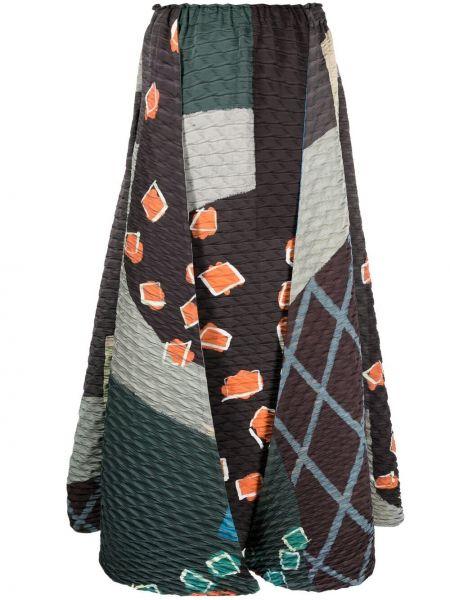 Brązowa spódnica midi pikowana z printem Issey Miyake
