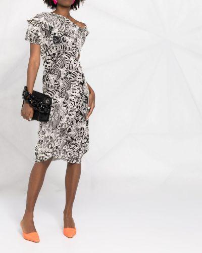 Шерстяное белое платье миди с вышивкой Vivienne Westwood