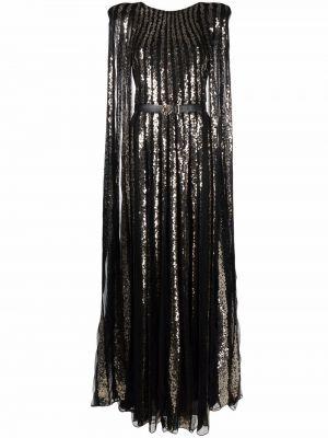Шелковое платье макси - черное Elie Saab