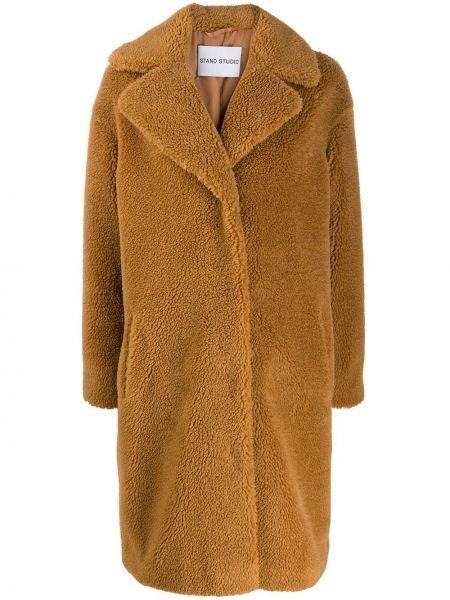 Коралловое длинное пальто с воротником из верблюжьей шерсти Stand