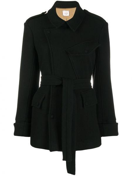 С рукавами черная длинная куртка с воротником Alysi