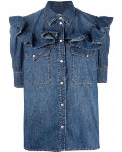 Синяя джинсовая рубашка с воротником с оборками на пуговицах Zadig&voltaire
