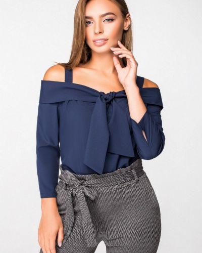Блузка с открытыми плечами синяя Itelle